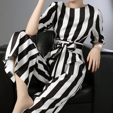 Striped Jumpsuits  High Waist  Wide Leg