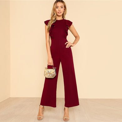Ruffle Wide Leg Jumpsuit
