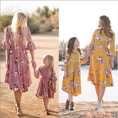 Mother Daughter Floral Beach Sundress