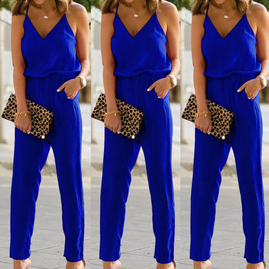 Elegant Bodycon Spaghetti Strap Cotton Jumpsuits