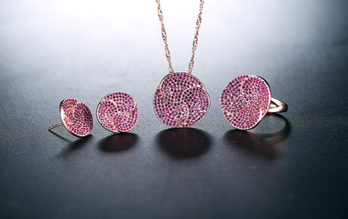 Rose Gold  Earrings & Ring & Necklace Jewelry Sets