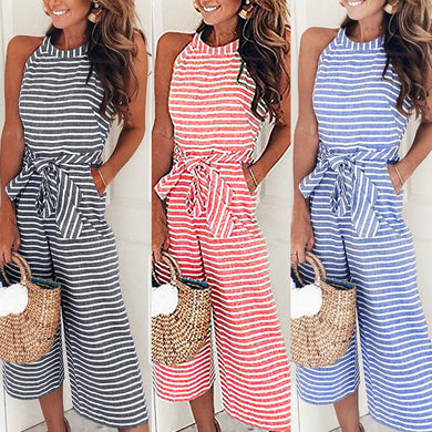 Striped Sleeveless Rompers Wide Leg Pants
