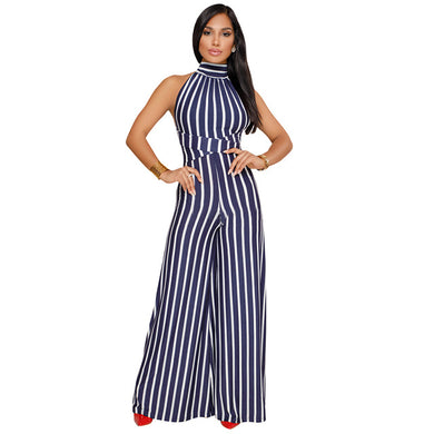 Striped Print High Waist Wide Leg Jumpsuit