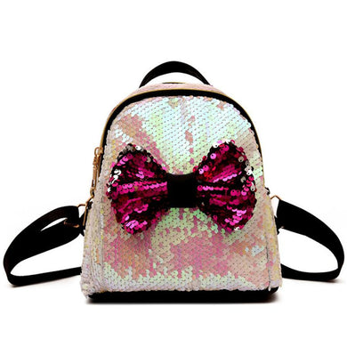 Fashion Sequins Bow Tie Backpack Satchel