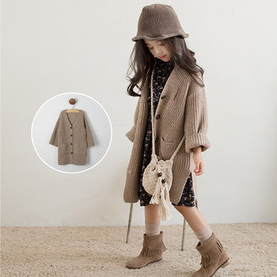 4-13Y Girls Sweater Children Long Sweater Cardigan Jacket Thick