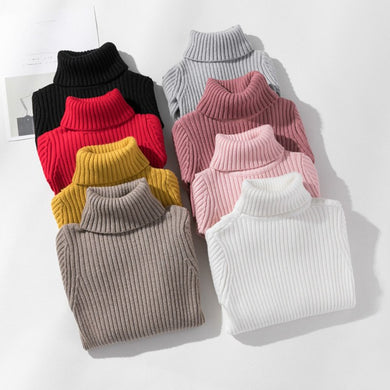 Sweater Children Thick turtleneck Knitted Sweaters for Girs 4-13Y