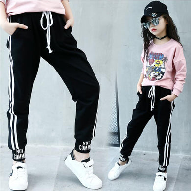 Girls trousers kids autumn spring full length sport pants r 4-13Y