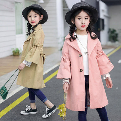 Spring Autumn Girls Trench Coat  4-13Y