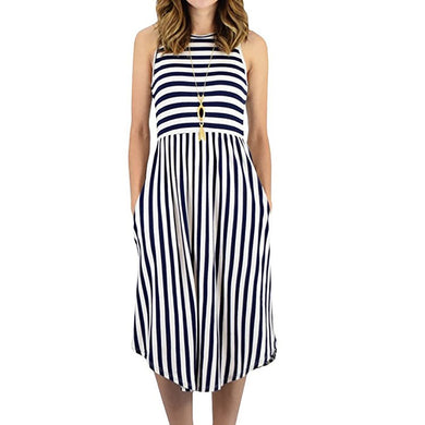 Sleeveless Casual Summer Beach Dress with Pockets