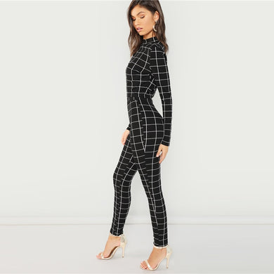 Black Mock Neck Plaid Top & Pant Set Two piece