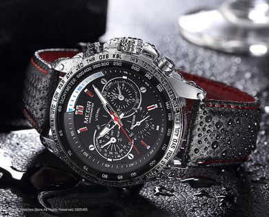 Chronograph Dial Quartz Leather Strap Wrist Watches