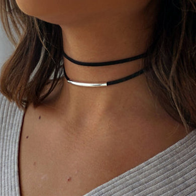 Trendy Leather Heart Studded Choker Necklace
