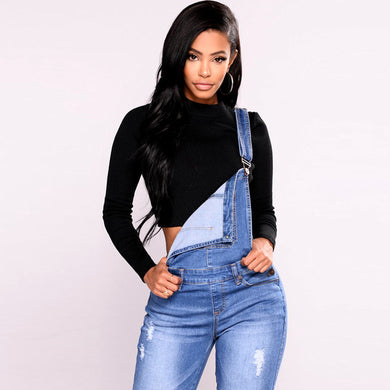 Overalls Straps Pencil Blue Denim Jumpsuit