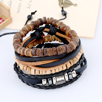 4Pcs/Lot Genuine Leather Multilayer Bangles