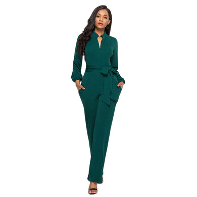 Green Tie Waist Shirt Jumpsuit