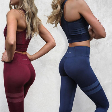 Round Collar Dotted Stretch Two-piece Gym Yoga Sports