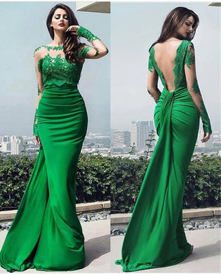 Design Long Open Back Mermaid Evening Dress