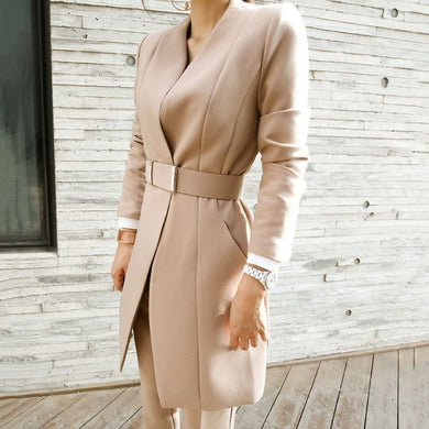 Two Piece Set Blazer Coat With Belt High Waist Trousers