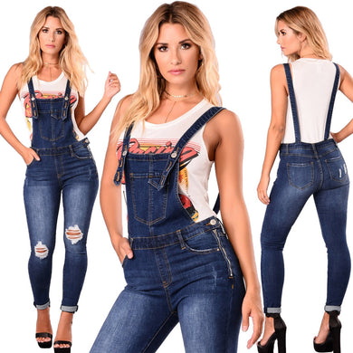 Slim high waist denim jumpsuit