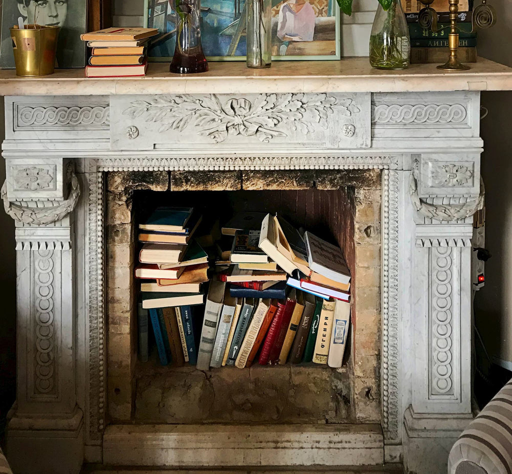 Books in fireplace