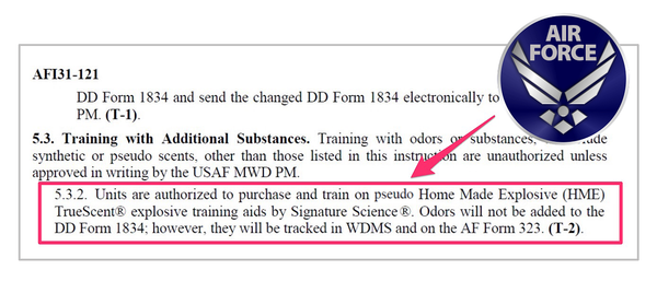 Authorization from Air Force to use TrueScent Training Aids