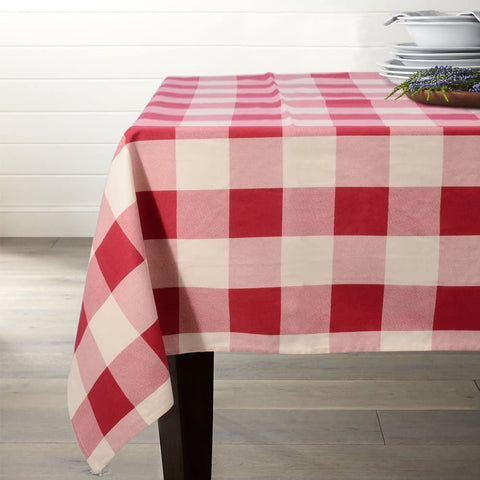 Lamberia Tablecloth Heavyweight Vintage Burlap Cotton Tablecloths for Rectangle Tables, 52-Inch-by-70, Red and White Checkered, Seats 4 to 6 People