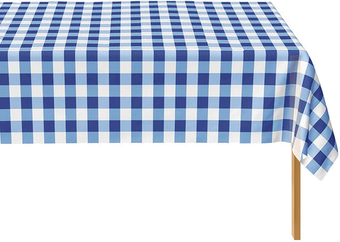 Blue Gingham Checkered Tablecloth - 12 Pack Rectangle Table Cover By Zimpleware