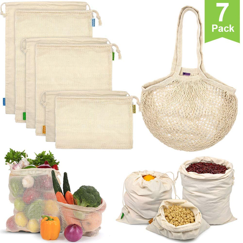 Reusable Grocery Bag for Shopping & Storage, Set of 7