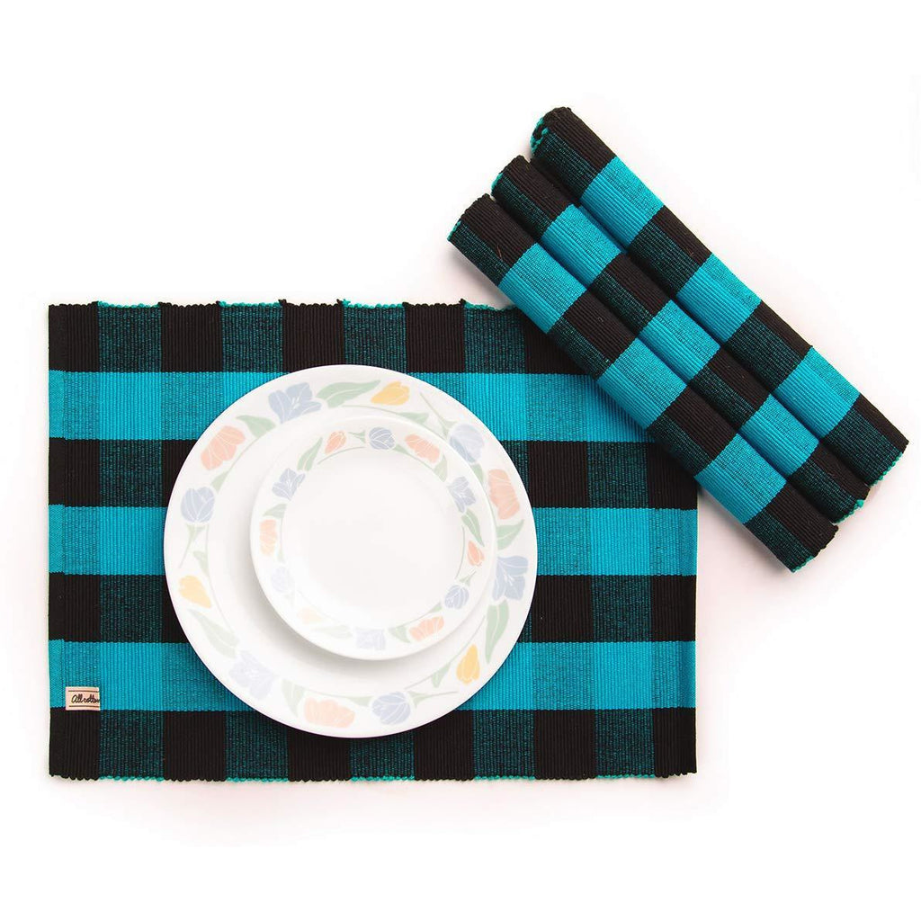 Blue and Black Buffalo Check Placemats, Cotton Checkered, Set of 4