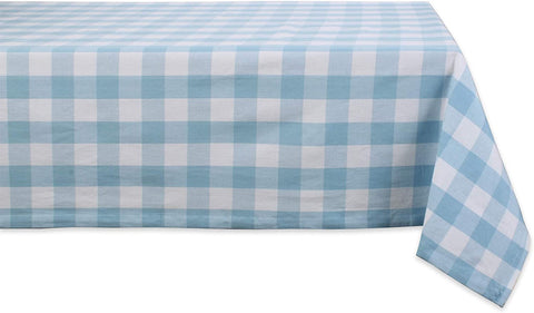 light blue and white tablecloth
