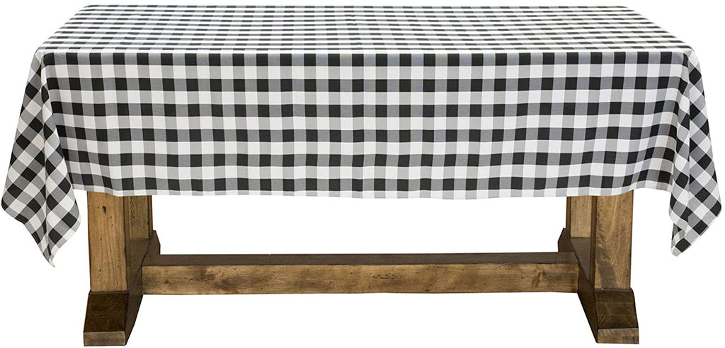 "Lann's Linens - 60"" x 126"" Premium Checkered Tablecloth - Rectangular Polyester Fabric Picnic Table Cover - Black & White Gingham Cloth"