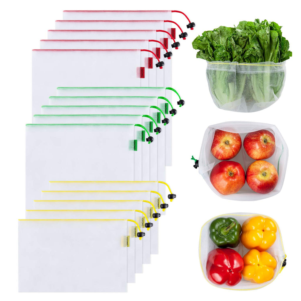 Reusable Mesh Produce Bags Washable, 3 Sizes