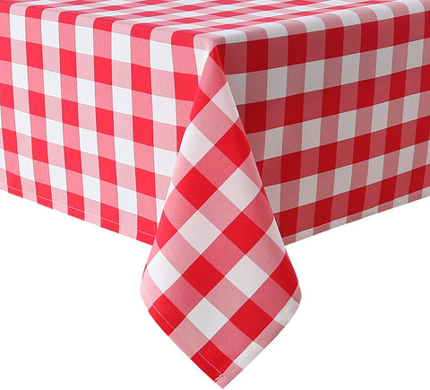 Red and white checkered tablecloth rectangle