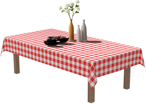 Puricon Red White Gingham Check 6 Pack Disposable Plastic Tablecloths 54 x 108 Inch