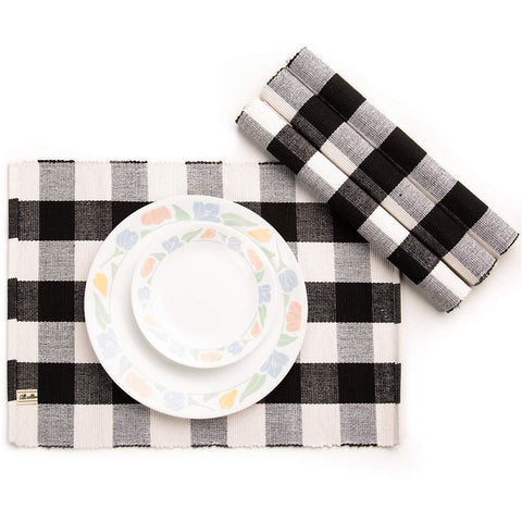 Black and White Buffalo Check Placemat, Set of 4