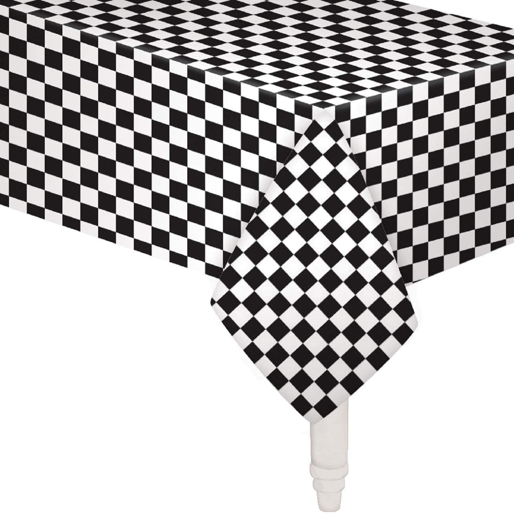 Pack of 6 Black & White Checkered Flag Table Cover Party Favor/Checkered Tablecloth/Disposable Checkered Racing Table Cover