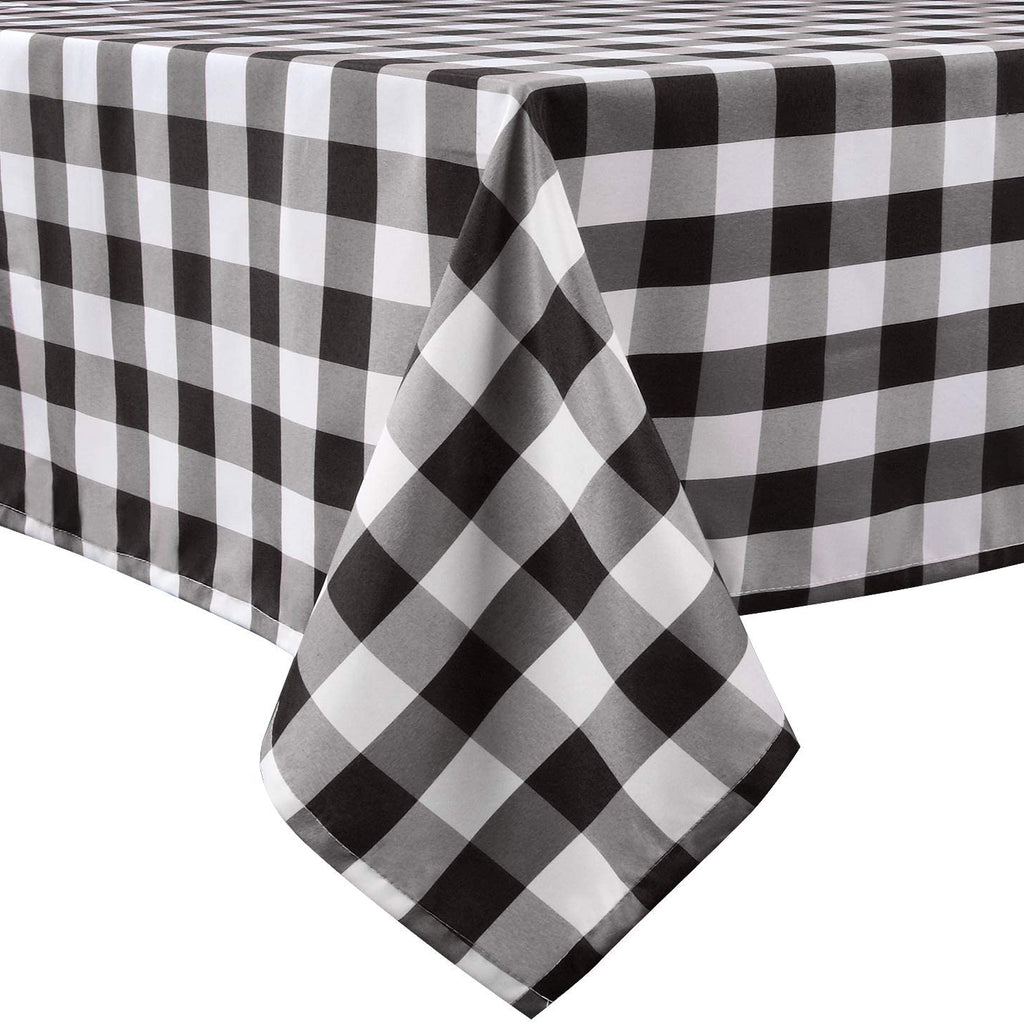 LEEVAN Buffalo Plaid Tablecloth Rectangle Stain Resistant, Spillproof and Washable Polyester Table Cover Checkered Gingham Table Cloth for Kitchen Dinner Farmhouse Black and White - 60x84 Inch
