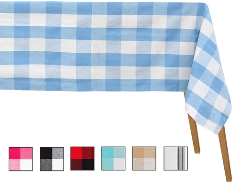 Light Blue and White Checkered Tablecloth - Plaid Tablecloth