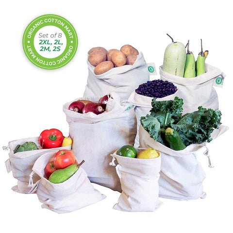 Reusable Vegetable Produce Bags, Set of 8