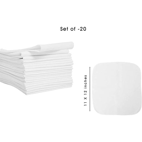Kids Reusable Napkin, White Cotton Cloth Kids Napkins, Set of 20