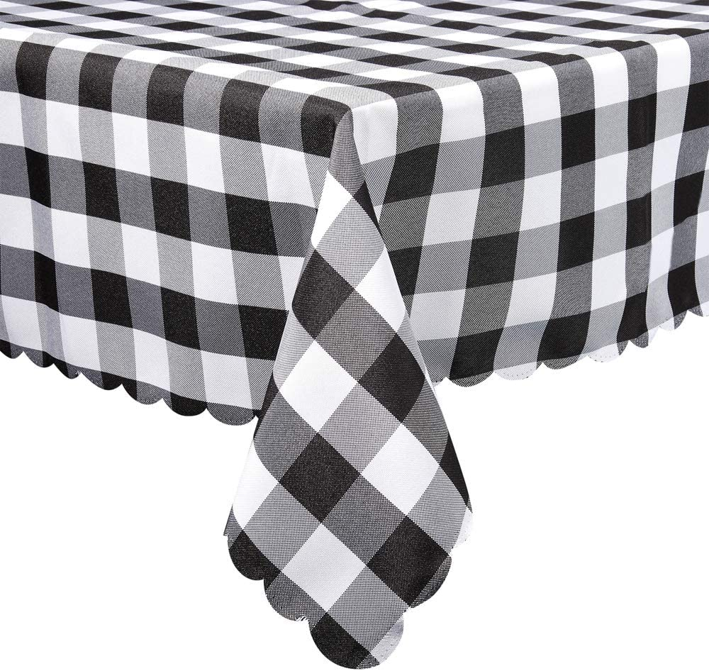 Black and White Plaid Rectangle Tablecloth