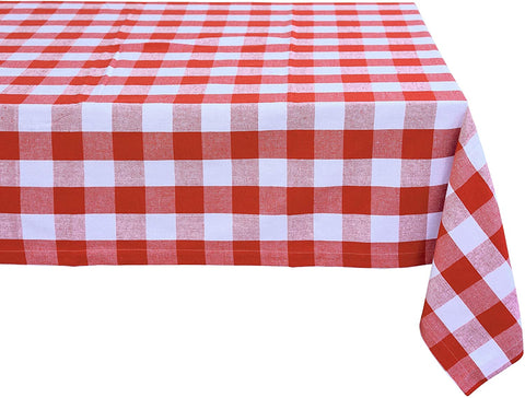 Red and white checkered tablecloth cotton