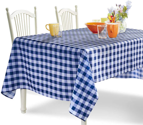 Navy Blue and White Checkered Tablecloth - YEMYHOM