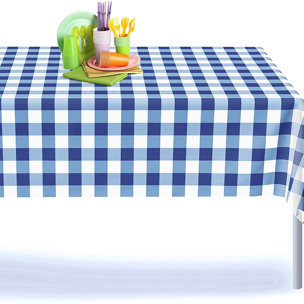 Blue and White Plastic Gingham Checkered Tablecloth 12 Pack, Rectangle - Grandipity