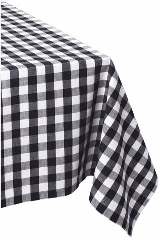 DII 100% Cotton Checkered Tablecloth Collection, 60x84, Black