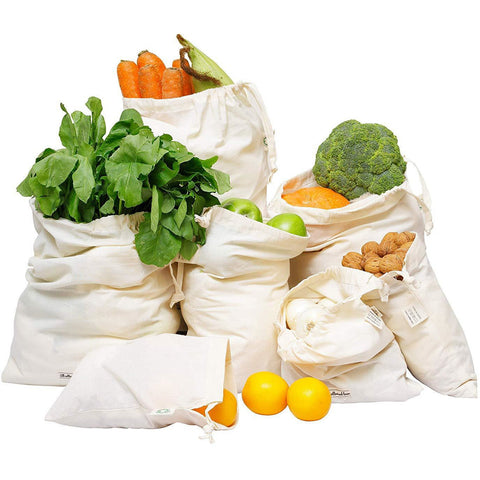Cotton Grocery Shopping Bags, Muslin Produce Bags, Set of 7
