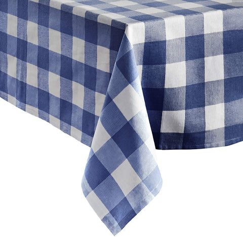 "Blue and White Farmhouse Buffalo Check Tablecloth, 52"" x 52"" - Elrene Home Fashions"