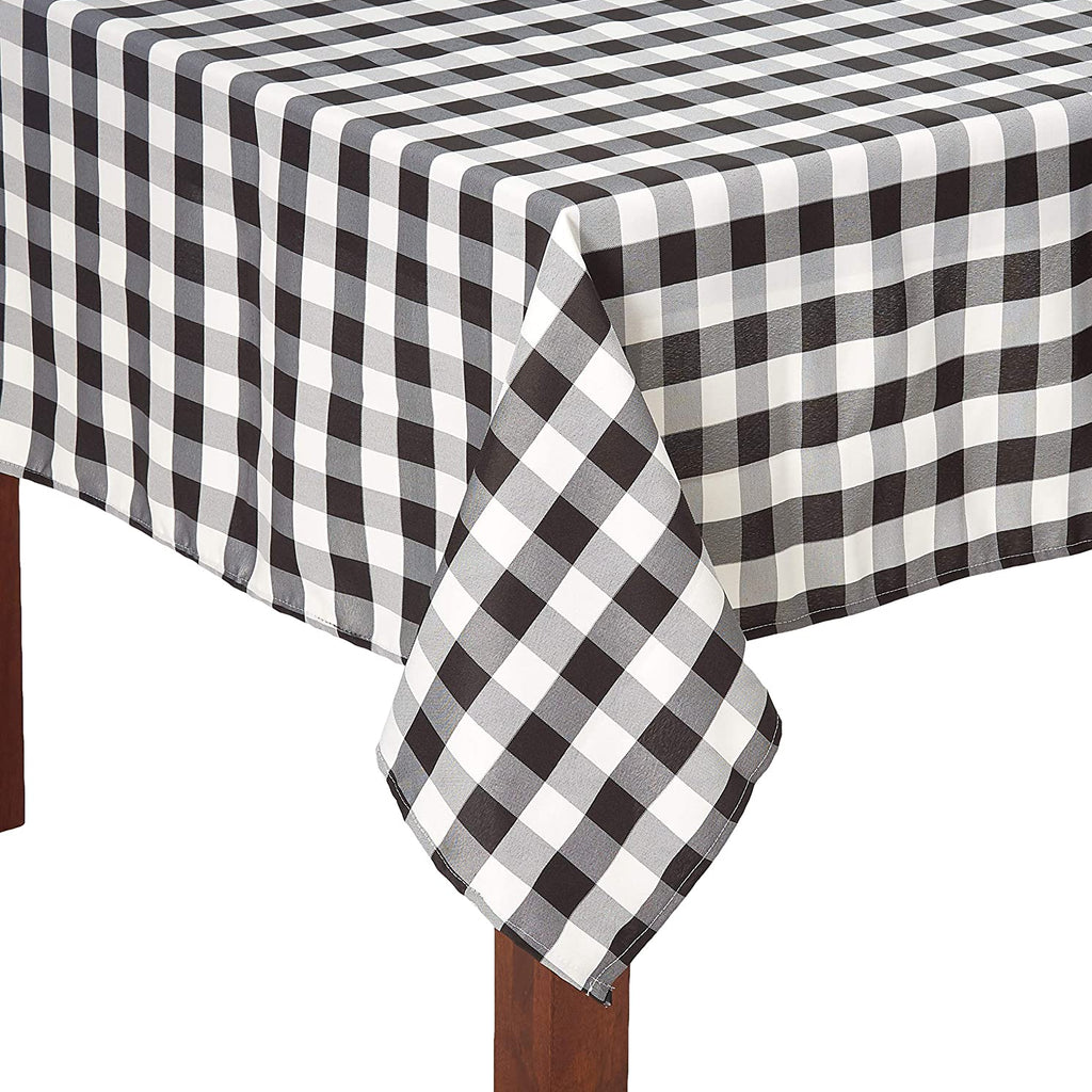 "TEKTRUM PREMIUM QUALITY 60 X 102 INCH 60""X102"" RECTANGULAR TABLECLOTH CHECKER - THICK/HEAVY DUTY/DURABLE FABRIC (Black and White)"