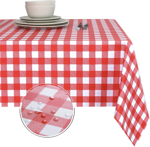Obstal Red and White Waterproof PVC Table Cloth, Oil-Proof Spill-Proof Vinyl Rectangle