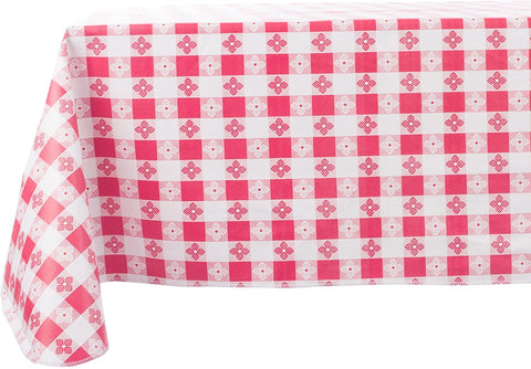 Red and White Checkered Vinyl Tablecloth, 52X70 Rectangle Yourtablecloth